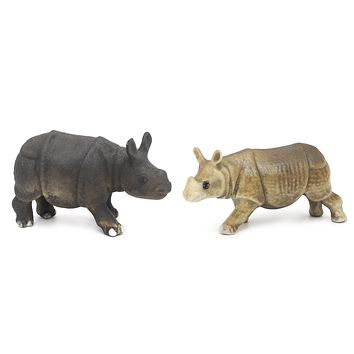 Handmade Miniatures Matte Ceramic Rhino Figurine Animals Décor/Animal Collection