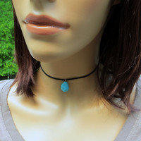 Turquoise Drop Choker. Black Leather Choker. Turquoise and Suede Choker.