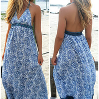 Seashells And Sandcastles Blue Print Halter Top Maxi Dress