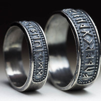 Elder Futhark Runes Ring, sterling silver, size US 4-14 / 15-23 mm (selectable), handmade ..... Norse Jewelry