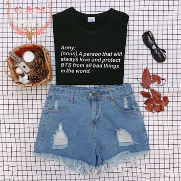 OKOUFEN KPOP BTS Hip Hop tee letter print unisex tops ARMY noun a person Definition Kpop TShirt tumblr cute streetwear shirt