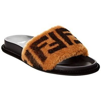Fendi Ff Leather & Fur Slide Sandal, 37, Black