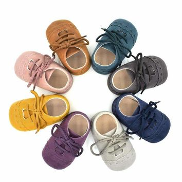Baby Boys  Leather Moccasins Tie Up Soft Shoes