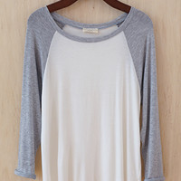 See You At the Ballpark Oversized Raglan Tee, Gray