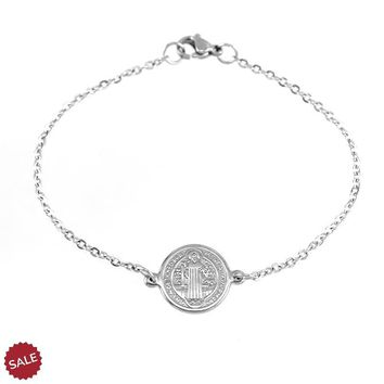 Saint Benedict Medal Cross Stainless Steel Bracelet