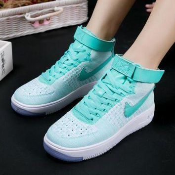 ESBBE6 Nike Air Force 1 Flyknit Mid-High 818018-007 Green For Women Men Running Sport Casual Shoes Sneakers