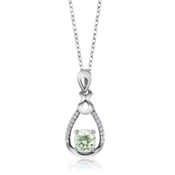 1.14 Ct Round Green Amethyst 925 Sterling Silver Pendant