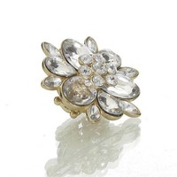 Clear Crystal Petals Large Flower Stretch Ring