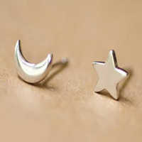 100% Silver Sterling Star and Moon Studs Earrings Set