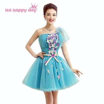 new arrive light blue one shoulder sweet 16 puffy princess pageant dresses short tulle prom dress 2018 ball gowns W2958