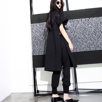 [TWOTWINSTYLE] 2016 Standing High Cold Queen Van High Side Split Long Short Sleeves Strong Aura Woman New