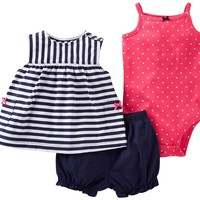 Carter's Striped Top Diaper Cover 3pc Set