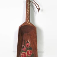 Vintage Primitive Grain Scoop Solid Wood Folk Art Floral Painting