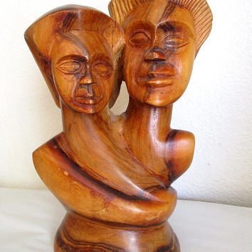 Vintage Wood Carving Sculpture Hand Carved Wooden Lovers Art Figures Fiji Souvenir Folk Art Couple Gift