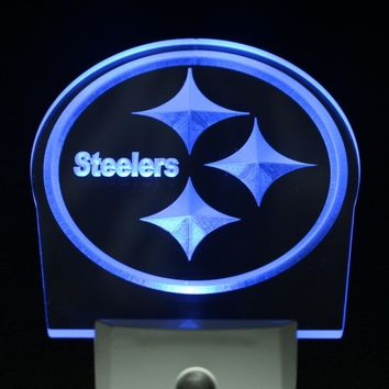 ws0122 Pittsburgh Steelers Bar Club Day/ Night Sensor Led Night Light Sign