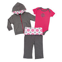 Yoga Sprout Girls 3 Piece Pink/Gray Hoodie, Embroidered Medallion Short Sleeve Bodysuit, and Fold Over Yoga Pant Set
