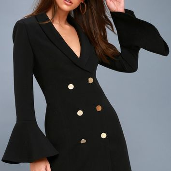 Manchester Black Flounce Sleeve Blazer Dress