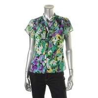 Elementz Womens Petites Ruffled Floral Print Button-Down Top