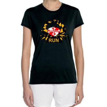 "Women's Short Sleeve Performance ""Maryland Crabby Runner"" Technical T-Shirt"