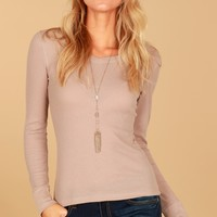 Thermal V-Neck Top Taupe