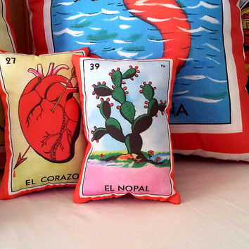 Nopal Cactus Mexican Loteria Mini Pillow with Lavender - Dia De Los Muertos / Day of the Dead, CHristmas Tuck Pillow or Bowl Filler
