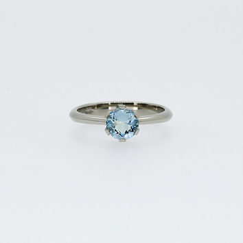 sky blue topaz engagement ring,  blue topaz solitaire ring, unique engagement, topaz, white gold, yellow gold, blue engagement, light blue