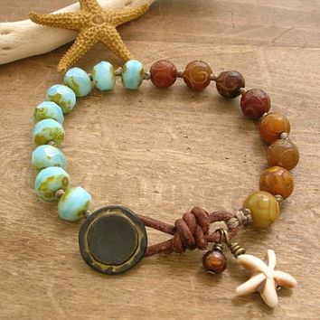 Knotted bracelet - Seashore - Bohemian jewelry, leather bracelet beach jewelry, dangles, boho, sundance starfish, sky blue rustic