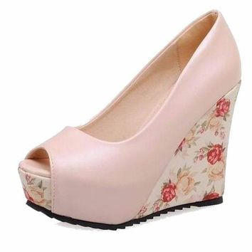 Peep Toe Floral Wedges
