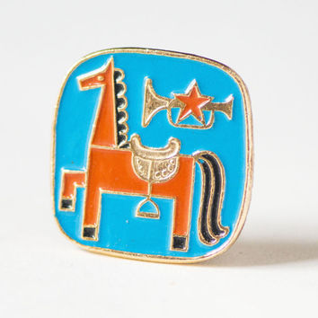 Vintage pin red horse, Soviet time enamel pin horse trumpet, Soviet star badge fun, blue red 80s kid pin, lapel pin 80 style USSR