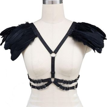 Harajuku Feather wings epaulette pastel goth body harness, black Feather wing body harness cage bra harness with silver hardware
