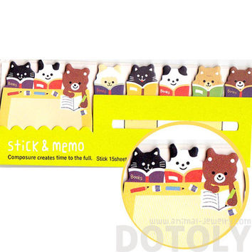 Bear Sheep and Kitty Cat Shaped Memo Pad Post-it Index Sticky Tab Bookmarks | Cute Animal Themed Paper Goods