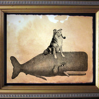 Collie Riding Whale - Vintage Collage Art Print on Tea Stained Paper - Vintage Art Print - Vintage Paper