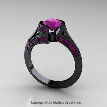 modern french 14k black gold 10 ct amethyst engagement ring wedding ring r376 14kbgam - Wiccan Wedding Rings