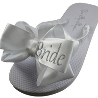Bling Silver Glitter - Shop our large selection wedding flip flops- Bride Bridesmaids bridal party flat/ wedge/ ivory/ white, sizes & colors