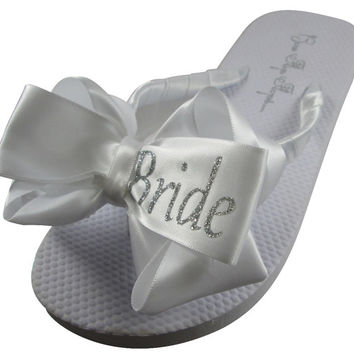 e5f6bacf9 Bling Silver Glitter - Shop our large selection wedding flip flops- Bride Bridesmaids  bridal party