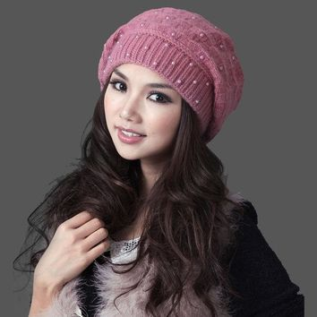 DCCKJG2 2017 Mask Gorros Free Shipping Women Winter Hat With Pom Thermal Thicken Knitted Female Double Layer Casual Beanies Cap 22305