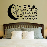 I love you to the moon and back vinyl wall decal sticker art