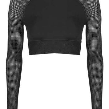 Mesh Detailed Long Sleeve Crop by Ivy Park - Tops - Clothing