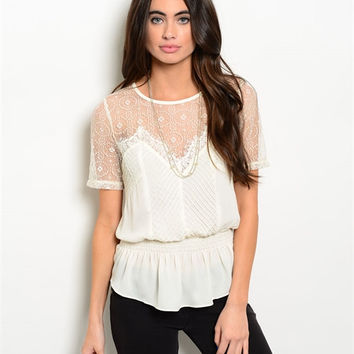 White Eyelet Sheer Lace Blouse