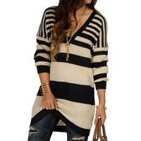 Sale-relaxed Striped Sweater Tunic