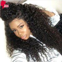 250% Density Brazilian Kinky Curly Lace Front Human Hair Wig Glueless Full Lace Wig