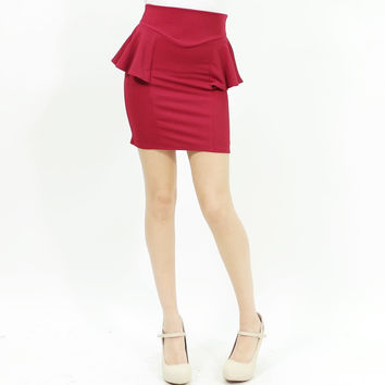 Sexy peplum stretchy bodycon mini skirt burgundy