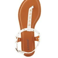 BAMBOO STUDDED T-STRAP SANDALS