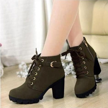 2014 New Women Pumps,European PU leather boots ladies high heel fashion Motorcycle boots pumps,women shoes,Free Shipping