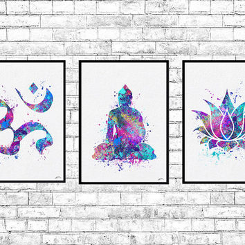 Special Offer Set of 3 Watercolor Prints Buddha Ohm Symbol Lotus Yoga Print Blue Purple Art Decor Meditation Buddha Poster Yoga Zen Poster