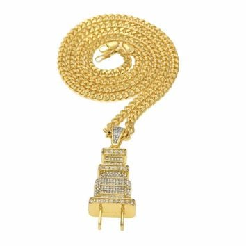 Plug Model Pendant Necklace Fully Lced Out Bling Power Plug Pendant Hip Hop Cuban Necklace Chain #GH45