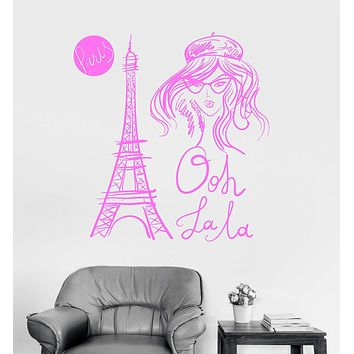 Vinyl Wall Decal Eiffel Tower Paris French Fashion Girl Room Stickers Unique Gift (ig3294)