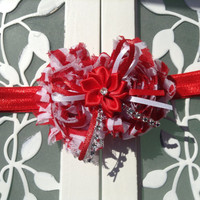 Red chevron rhinestone Christmas headband for little girls babies and toddlers
