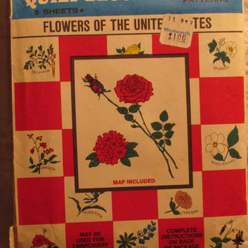 SALE Uncut Vintage Vogart Transfer Pattern, 2002! Flowers of the United States/Quilt Blocks/Repeat Transfer Patterns/Pillow Cases/Table Line