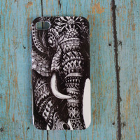 black and white Aztec, tribal, boho, hippie, indian, hipster, elephant iphone 4/4s case/cover